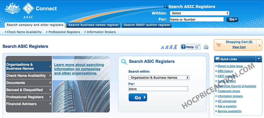 pháp lý sàn giao dịch trên ASIC