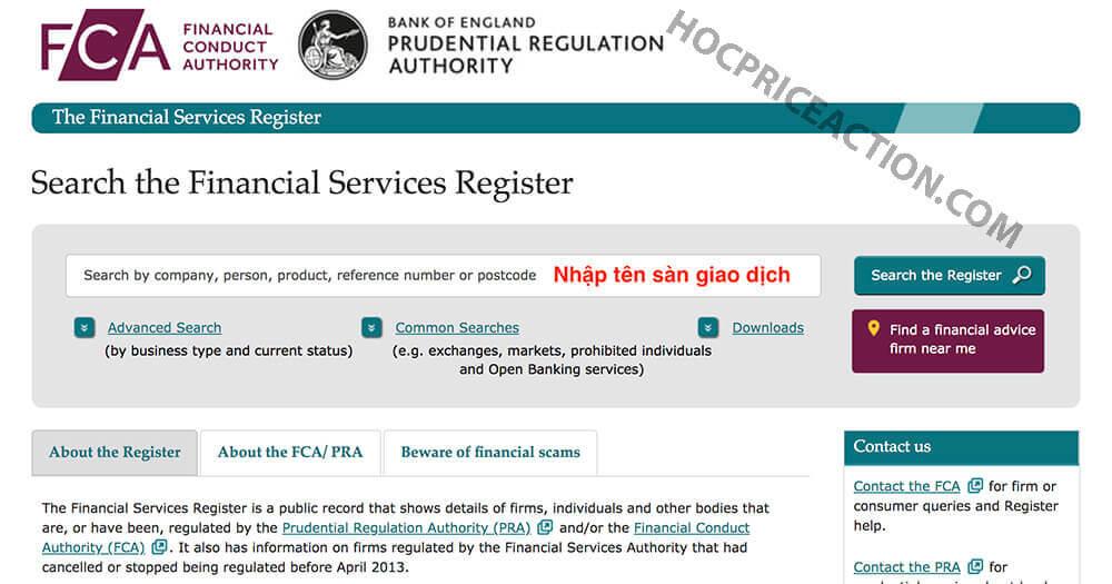 kiểm tra pháp lý sàn giao dịch forex tại FCA