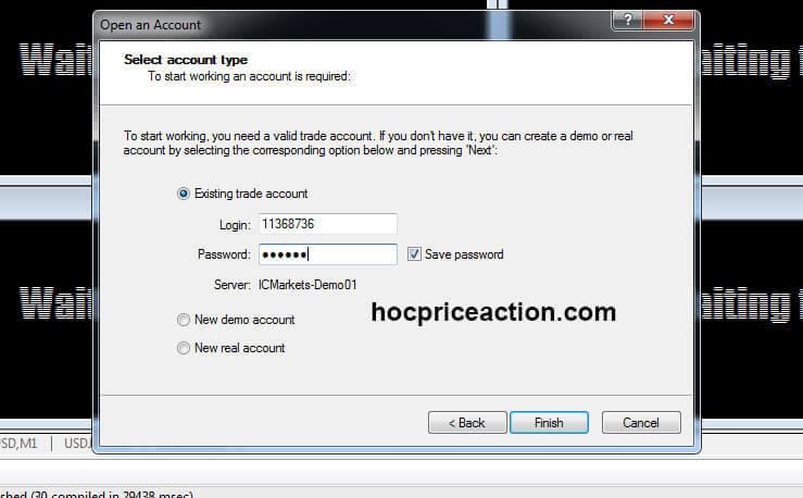 đăng nhập tài khoản vào nền tảng mt4