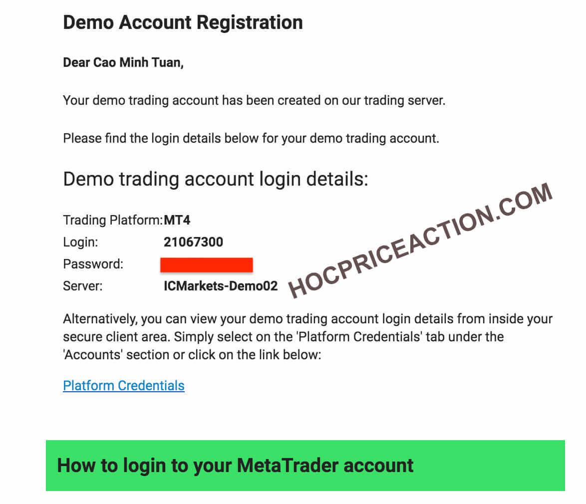 thông tin đăng nhập demo account